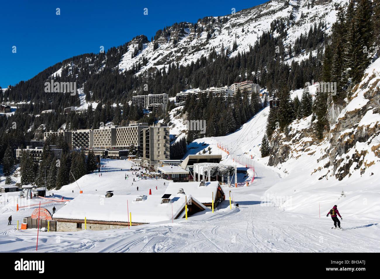 View over the resort of Flaine from beneath the Grandes Platieres Gondola, Grand Massif Ski Region, Haute Savoie, Stock Photo