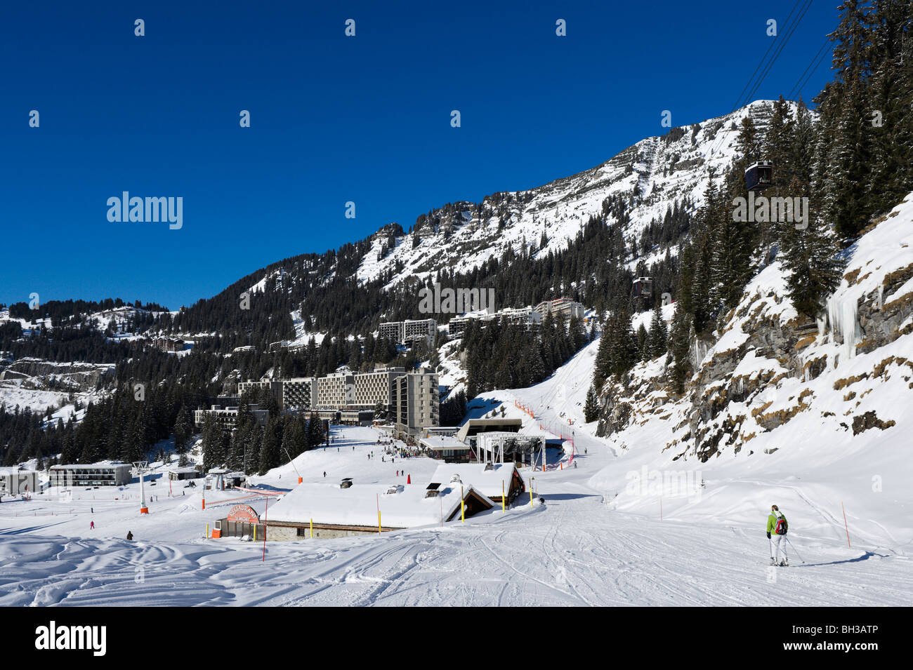 View over the resort of Flaine from beneath the Grandes Platieres Gondola, Grand Massif Ski Region, Haute Savoie, Stock Photo