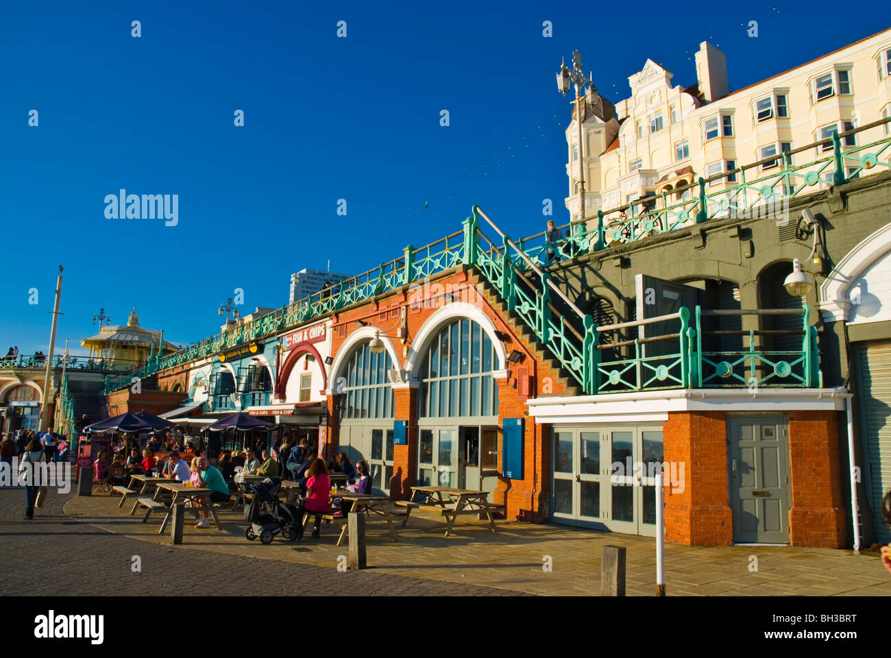 Artists Quarter and Brighton coalition pub at fishermans arches seafront Brighton England UK Europe Stock Photo