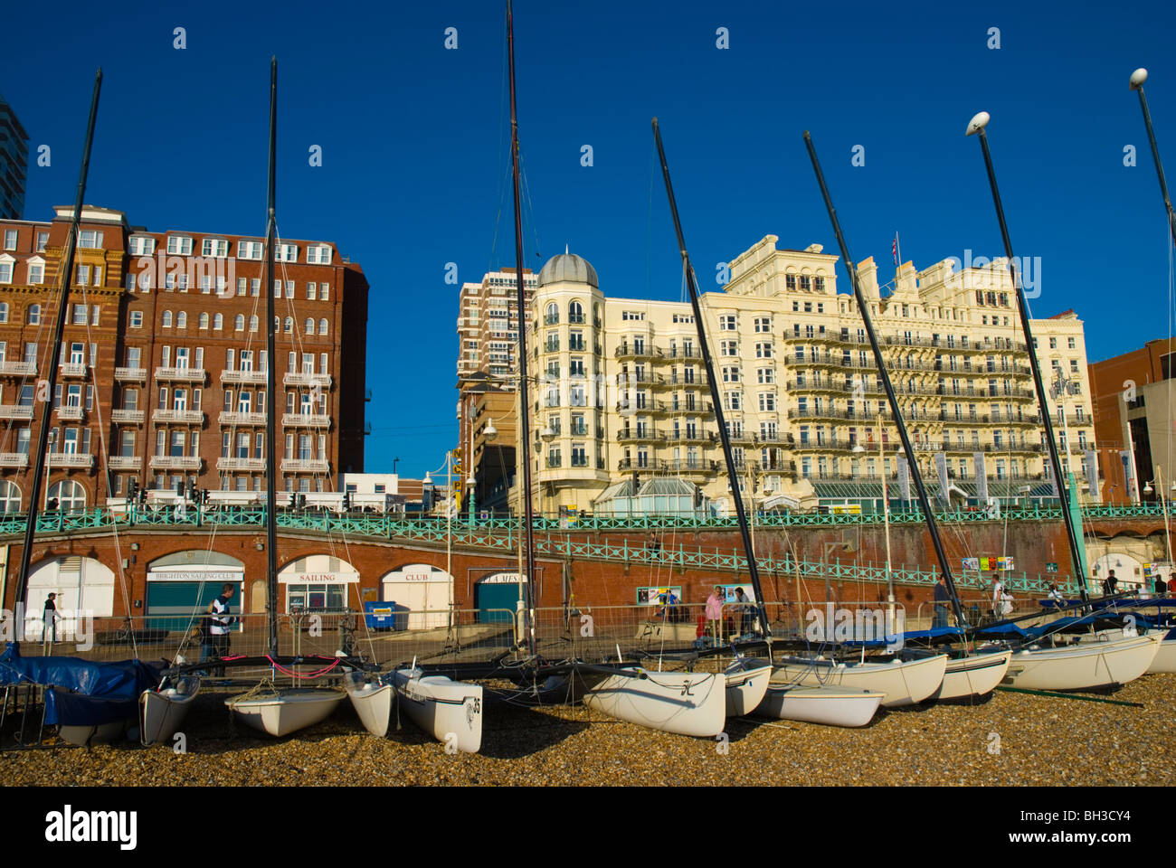 Sail boats on beach in Brighton England UK Europe - Stock Image