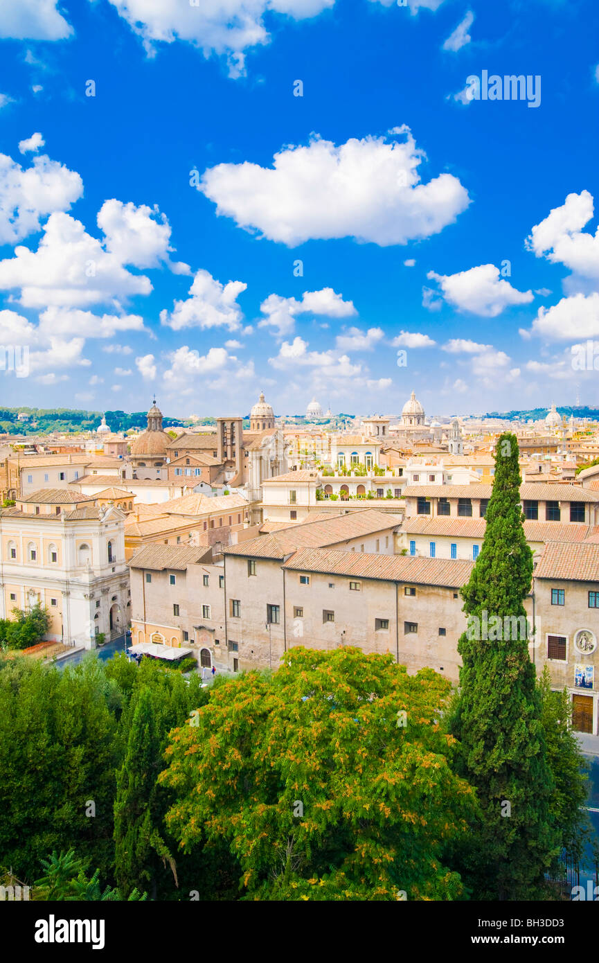 Panoramic view of Rome, Italy - Stock Image