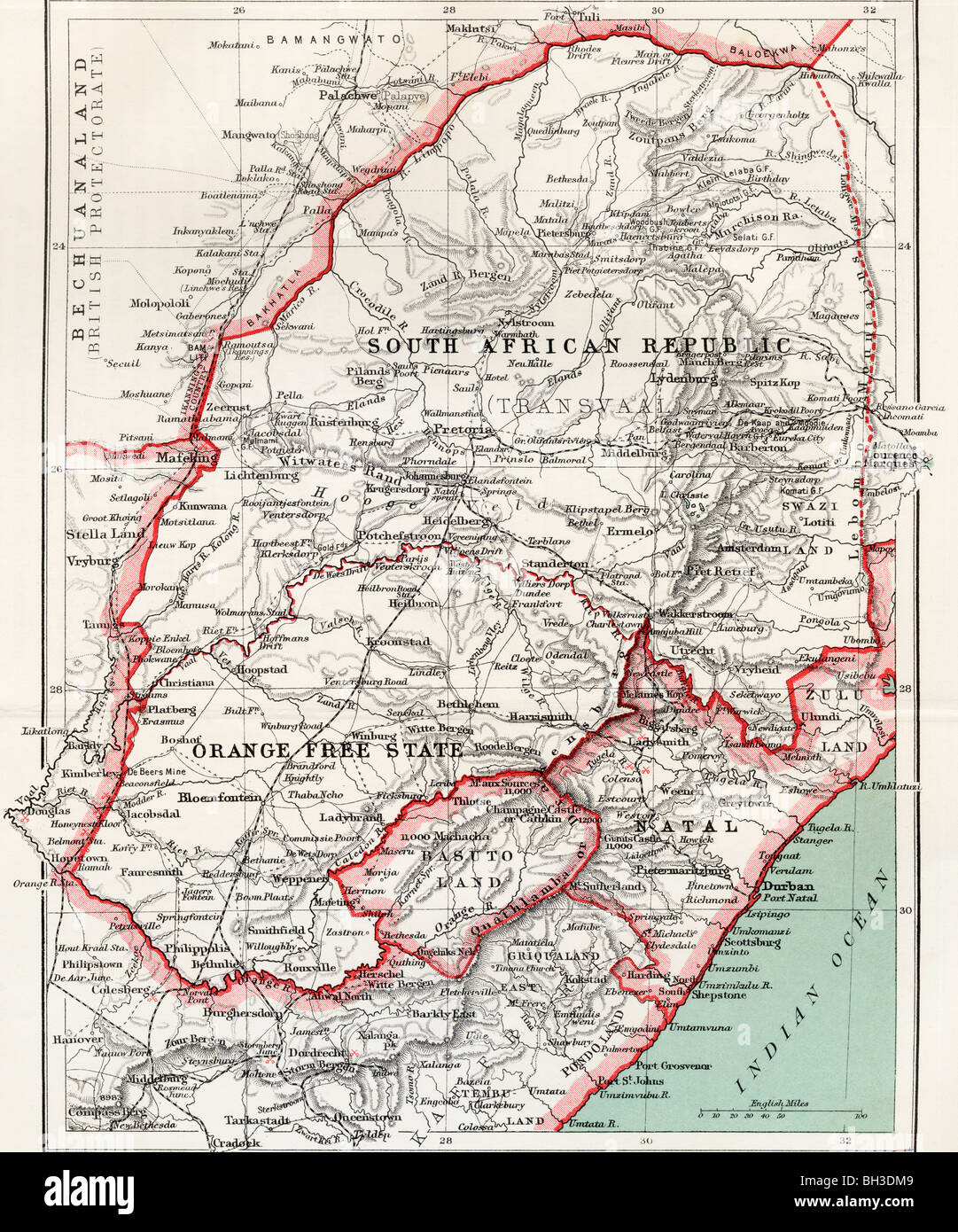 Map of South African republic, Orange Free State and Natal circa