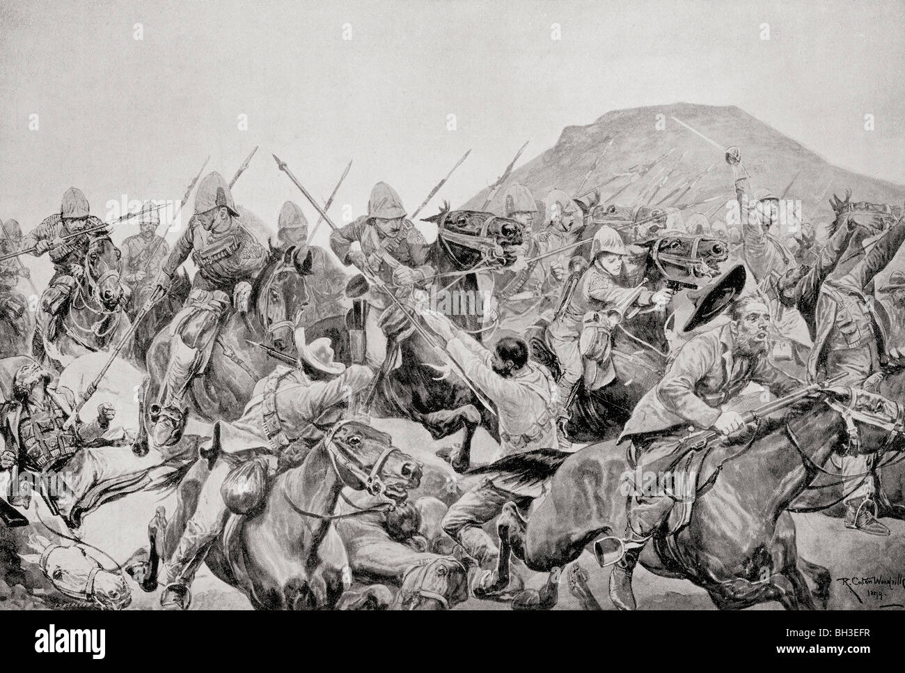 Charge of the 5th Lancers at The Battle of Elandslaagte, 21 October 1899, during the Second Boer War. - Stock Image