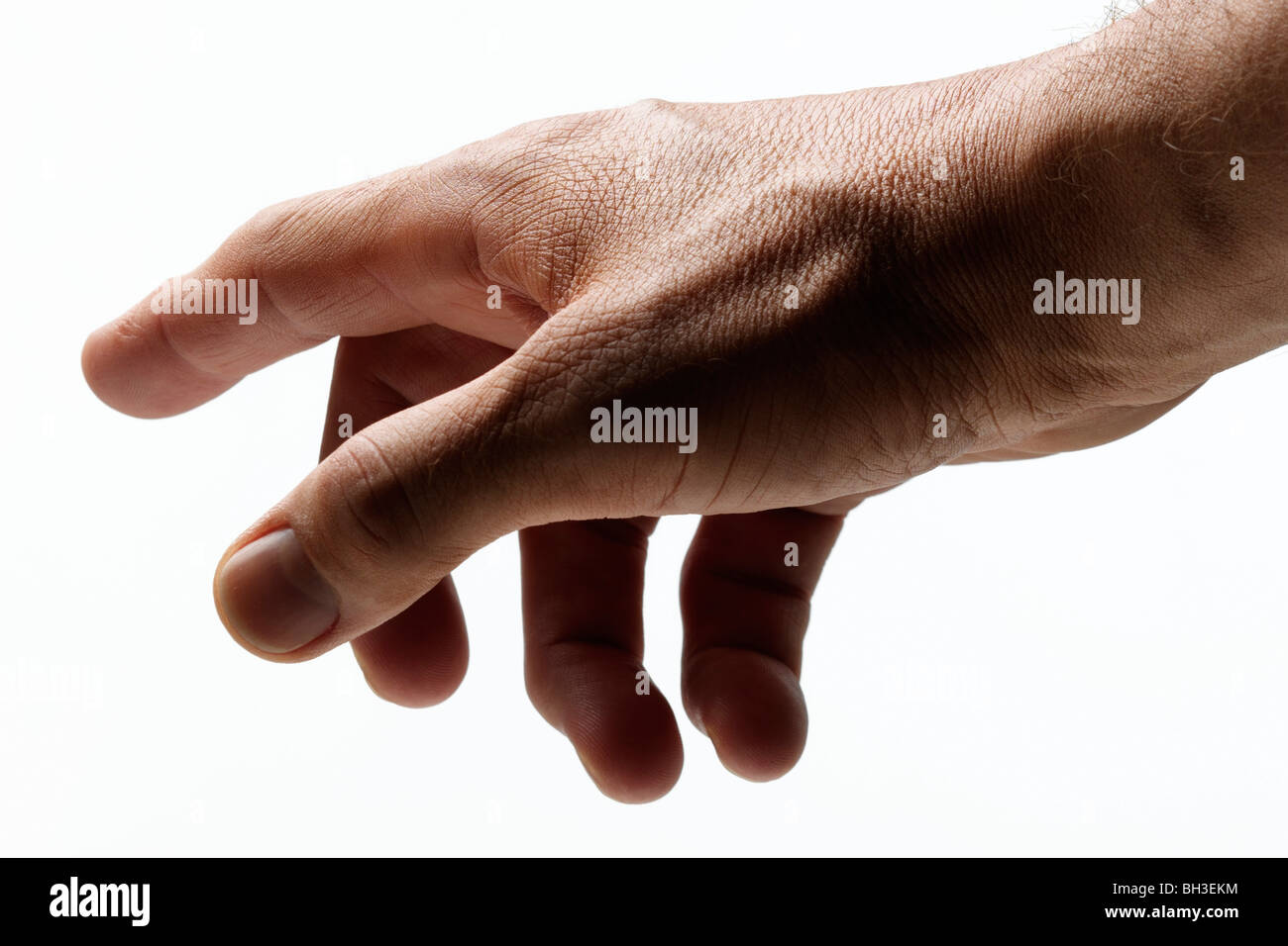 Mans hand pointing - Stock Image