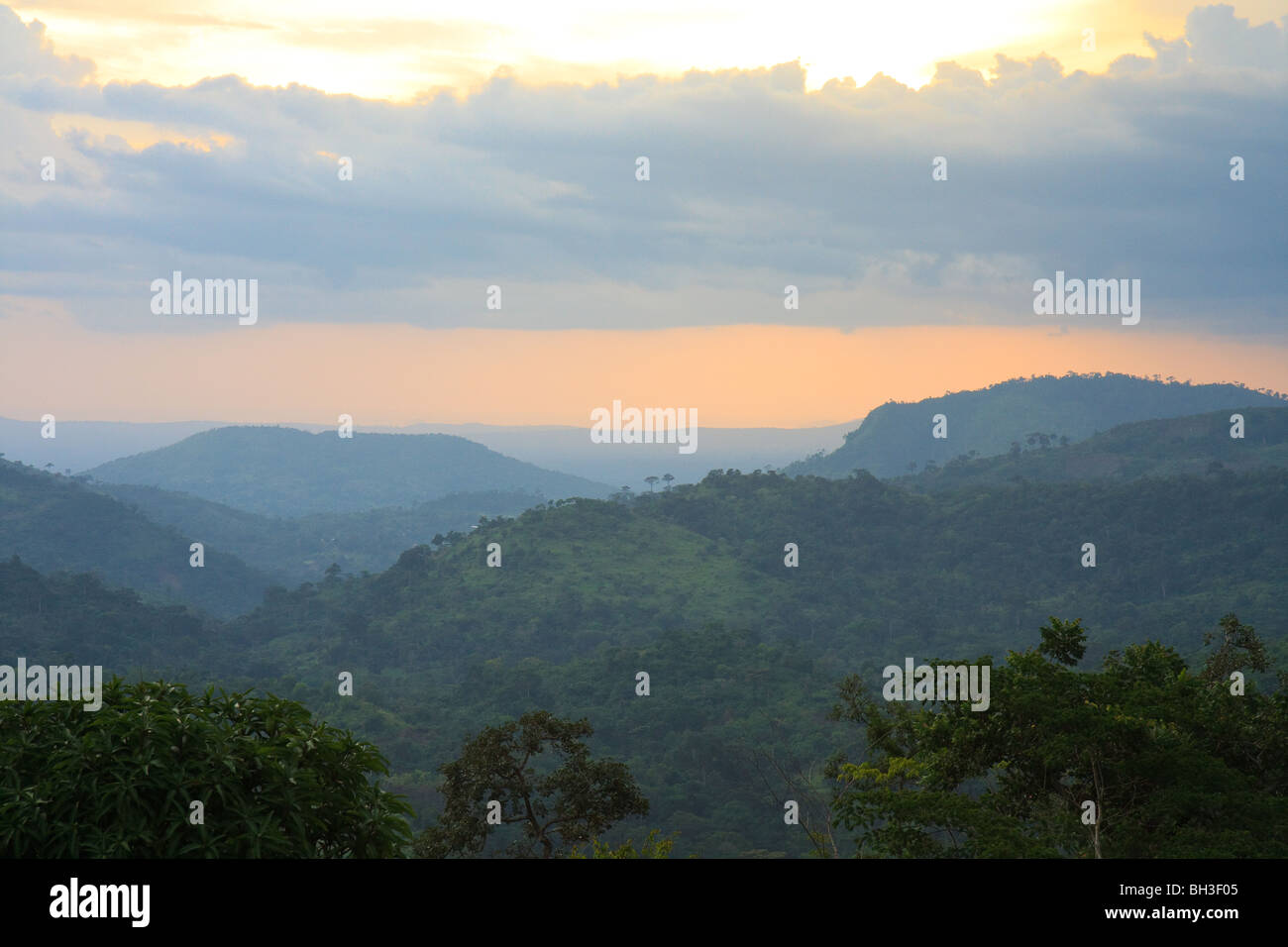Africa Jungle Kouma Konda Light Sunset Togo - Stock Image