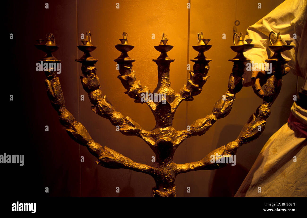 Israel, the Tabernacle in the Wilderness, the replica in Timna Valley, the Menorah - Stock Image