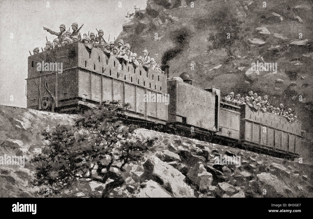 Armoured train in reconnaissance action near Kimberley, South Africa, during the Second Boer War. - Stock Image