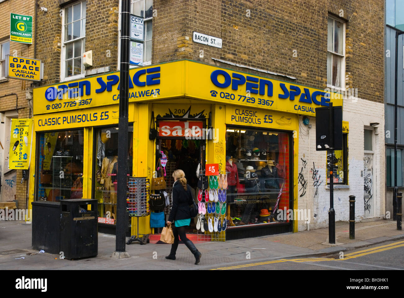 Corner of Brick Lane and Bacon Street Shoreditch East End London England UK Europe Stock Photo