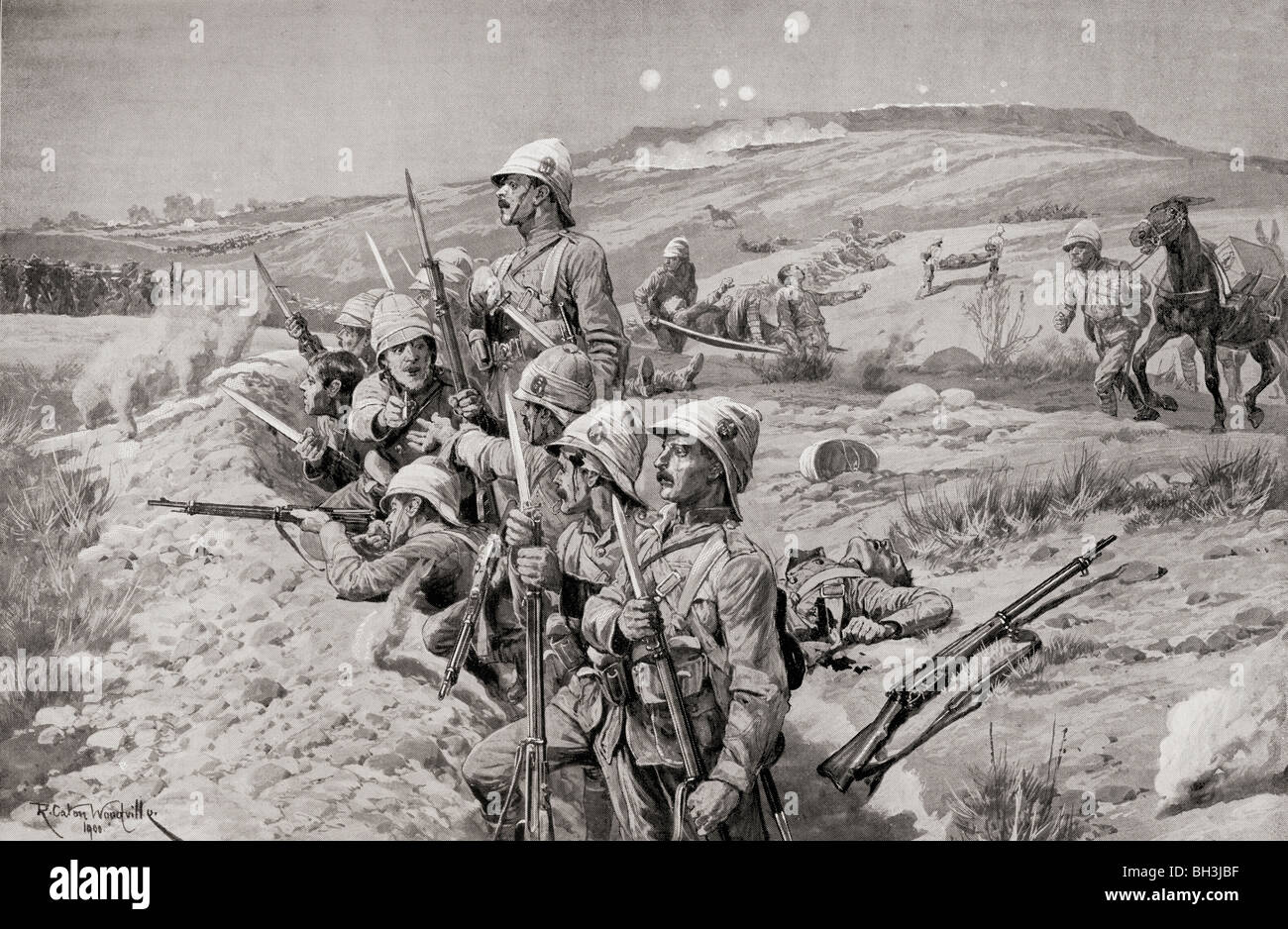British troops with fixed bayonets ready to repel an attack against the trenches around Ladysmith, South Africa. - Stock Image