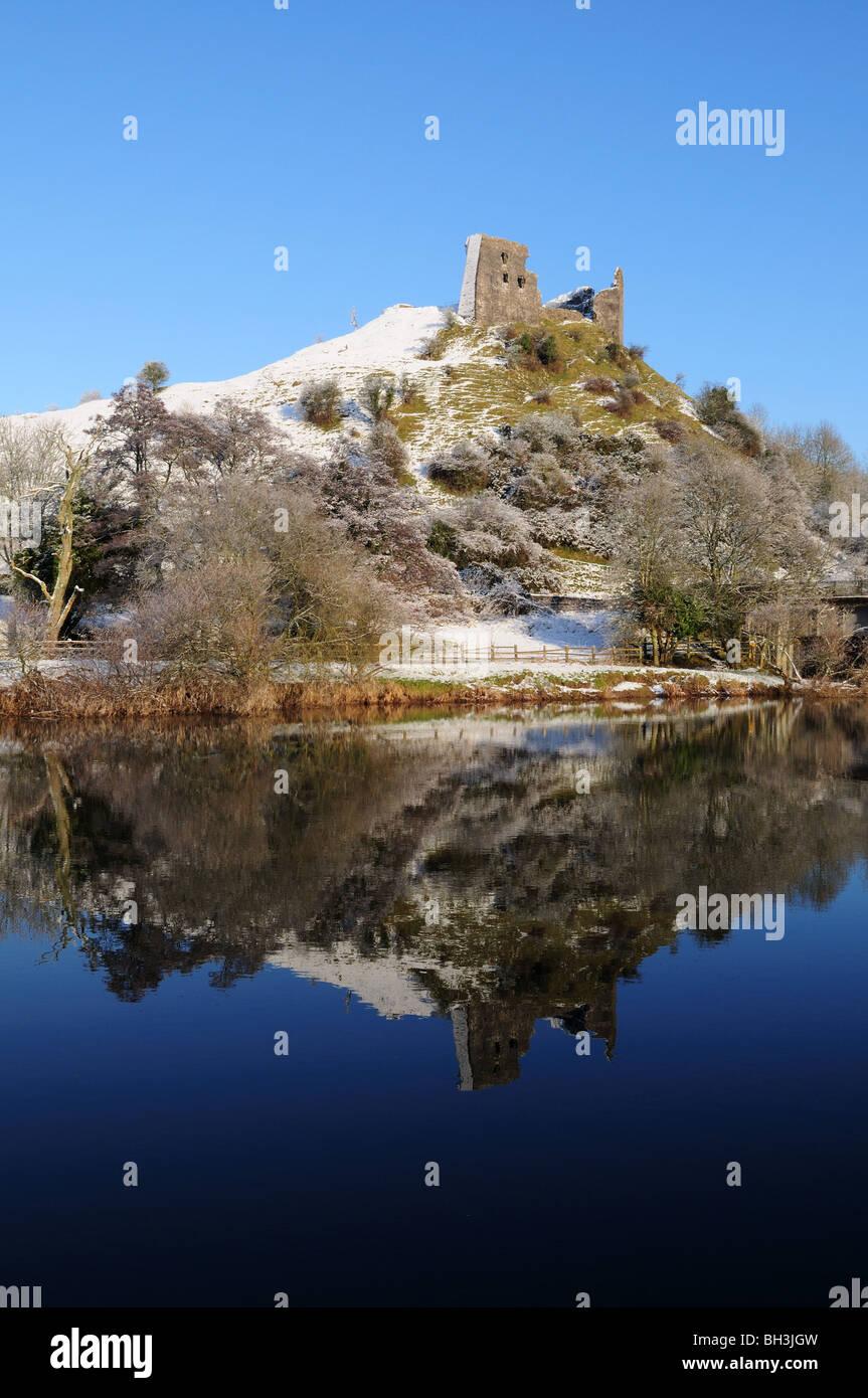 Dryslwyn Castle reflected in the Tywi River  winter afternoon Carmarthenshire Wales Cymru UK GB - Stock Image