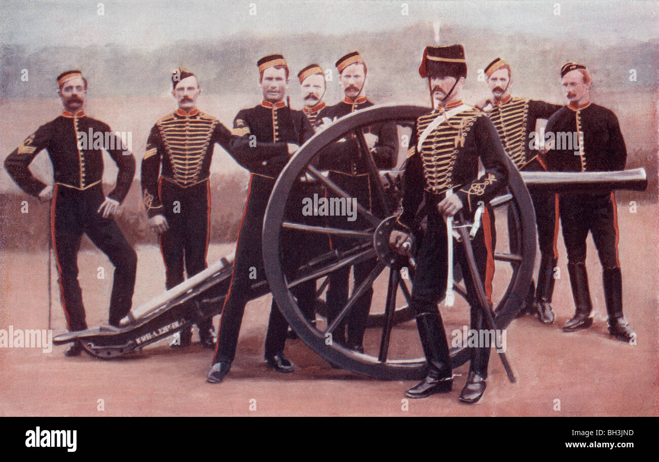 Sergeants of the Royal Horse Artillery with a 12 pounder gun. - Stock Image