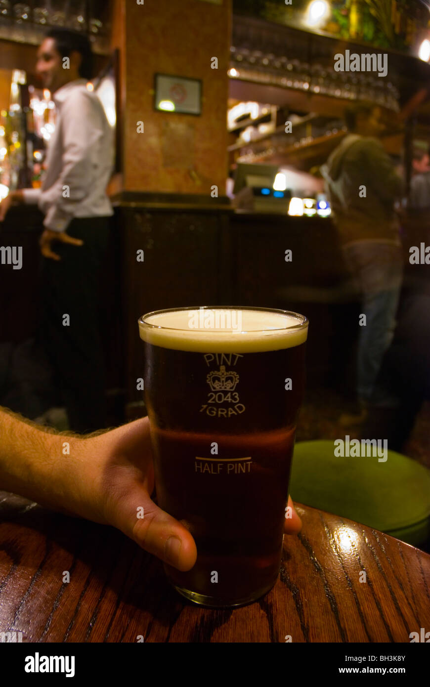 Pint of bitter at Fitzroy tavern pub in Fitzrovia district London England UK Europe - Stock Image