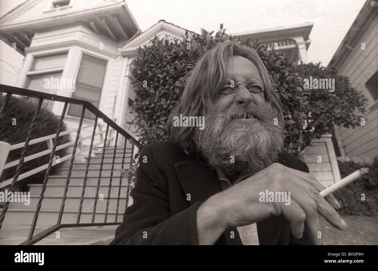 1960s musician Skip Spence outside a halfway house on the streets of San Jose, California. Moby Grape Jefferson Stock Photo