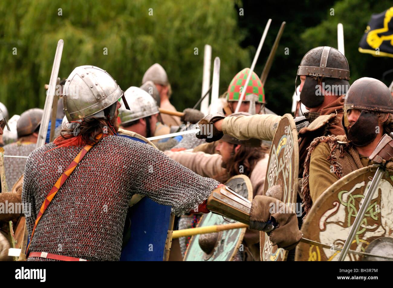 Historical reenactment of Viking invasion - Stock Image