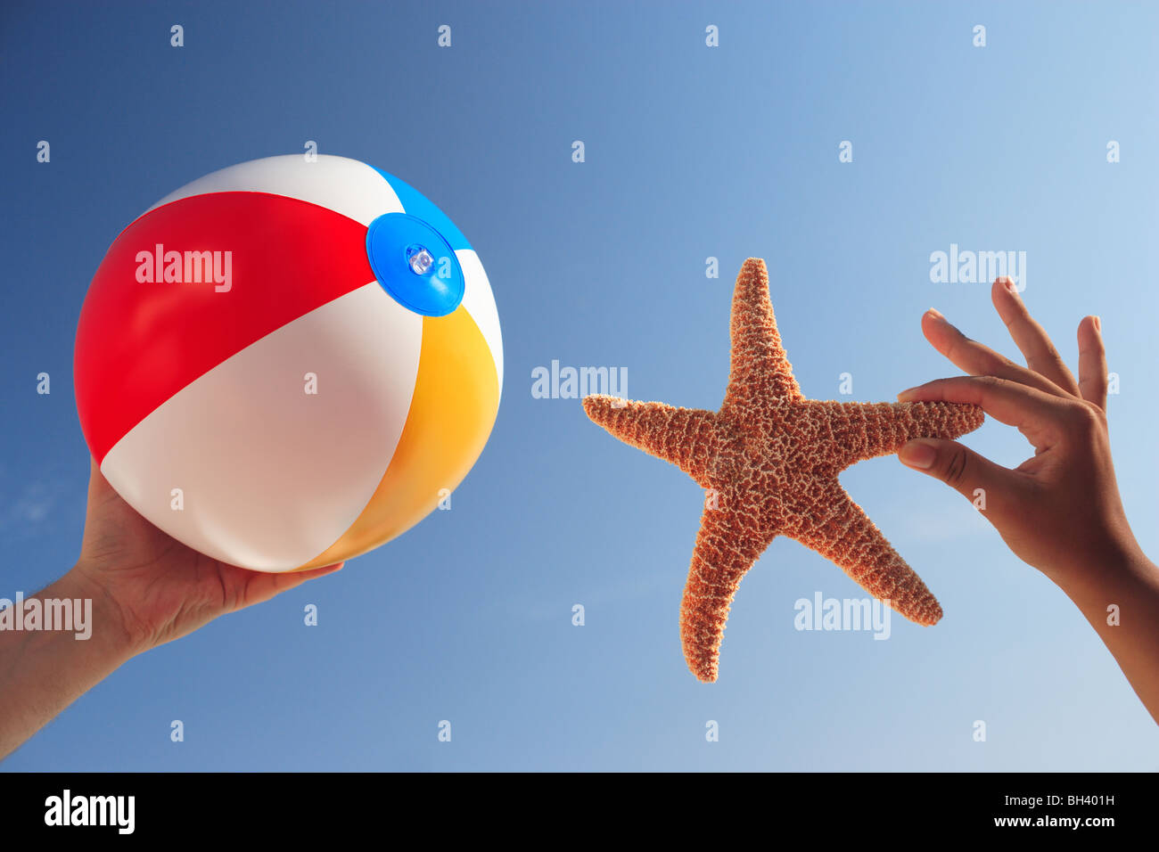 A man and a woman's hand holding an inflatable beach ball and a starfish in the air against a blue cloudless summer Stock Photo