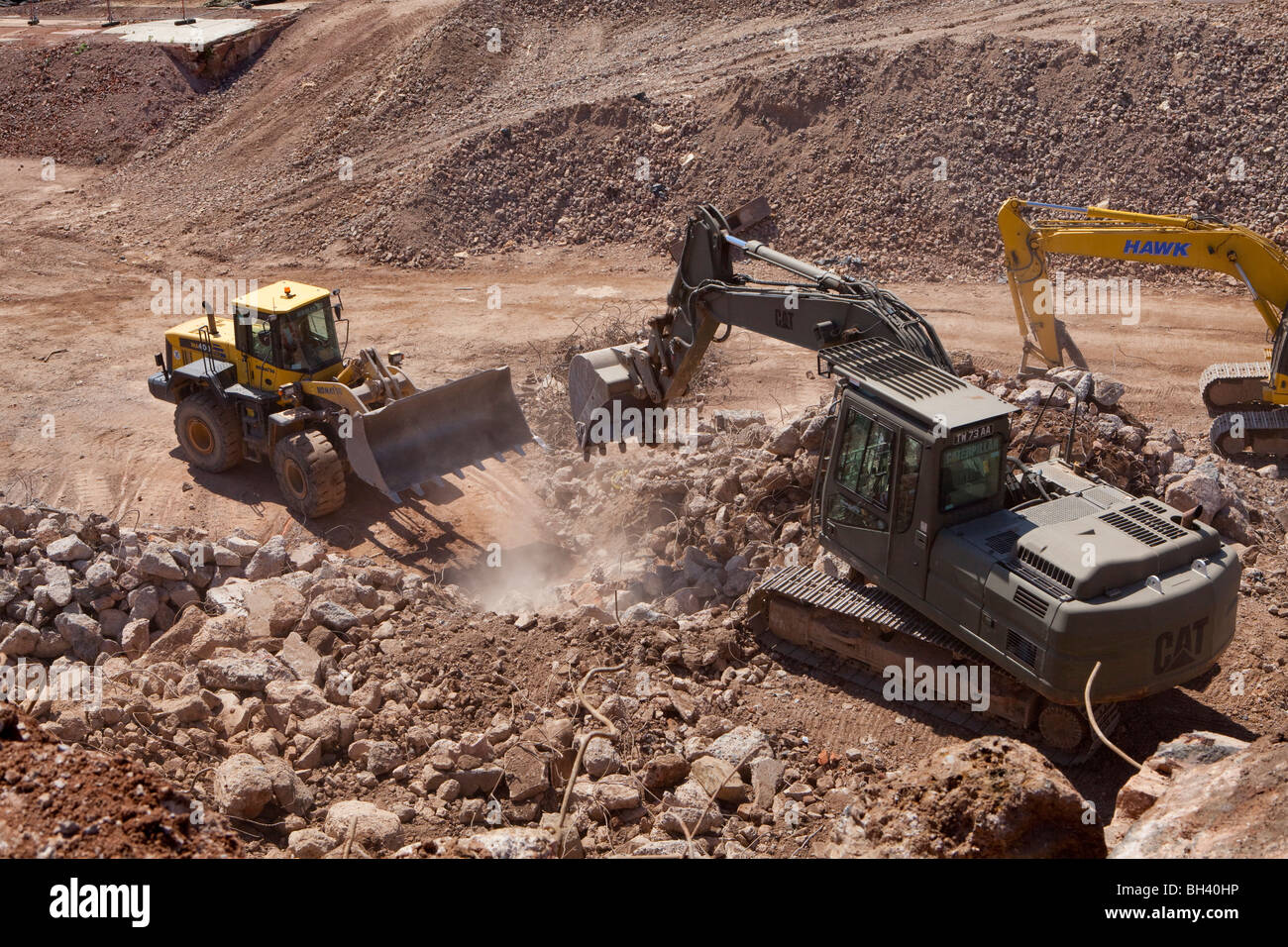 Heavy plant working on site at Longbridge North and West - Stock Image