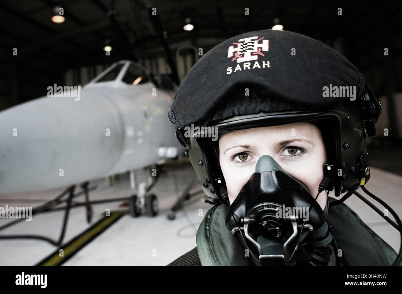 Weapons Systems Officer, with her Tornado F3 in a QRA shed at RAF Mount Pleasant, Falkland Islands - Stock Image