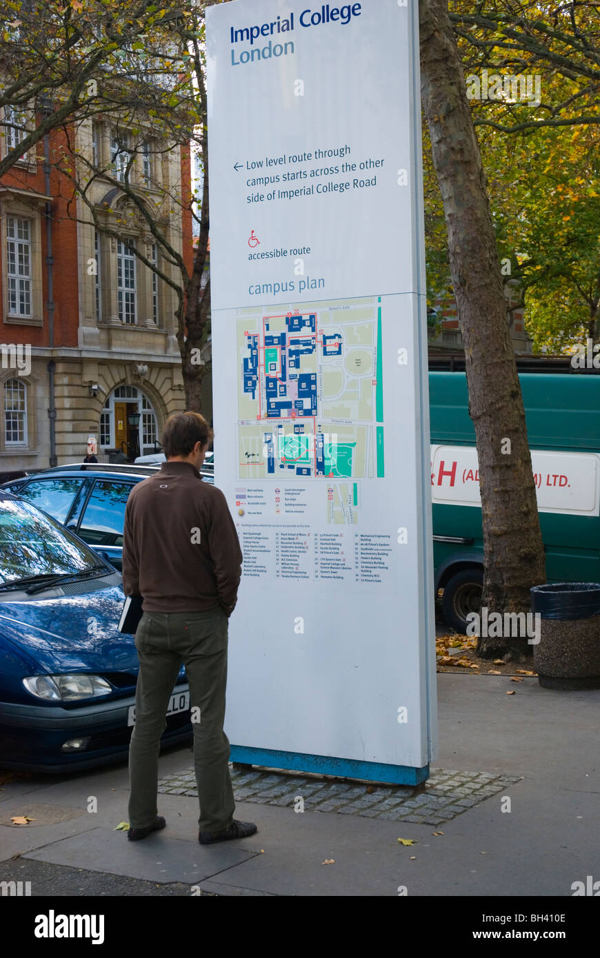 Map Of West London Uk.Person Looking At The Map Of Imperial College Grounds West