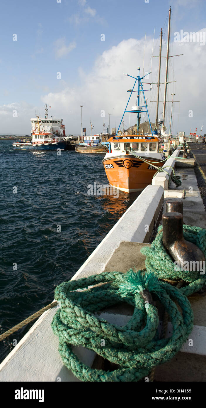 Fishing boats tied up in the harbour at Kirkwall, th ecapital of the Orkney Islands, Scotland, 18th October 2008. - Stock Image