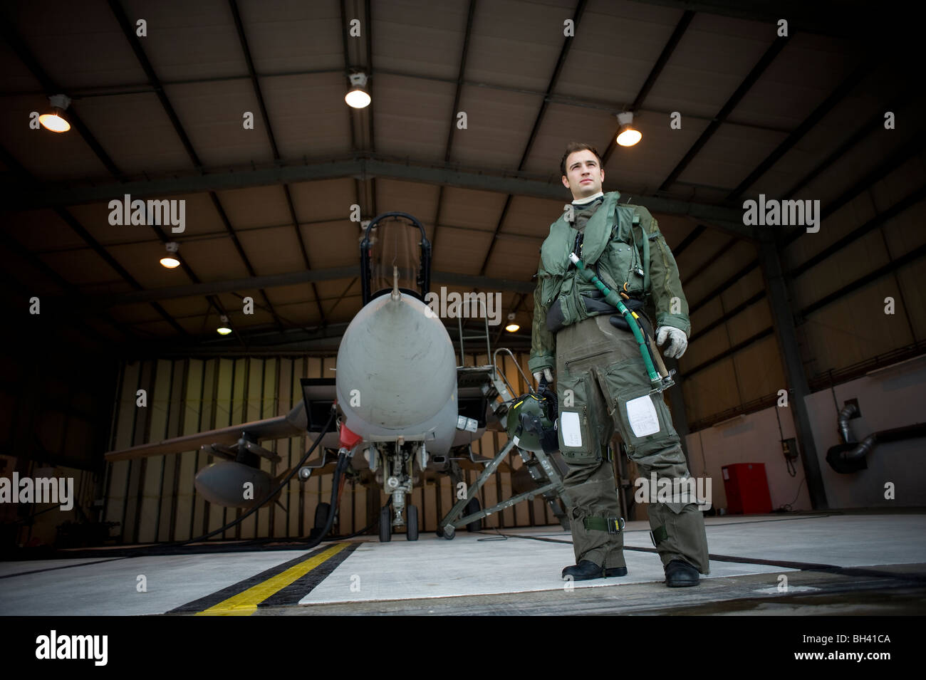 Aircrew with his Tornado F3 in a QRA shed at RAF Mount Pleasant. - Stock Image