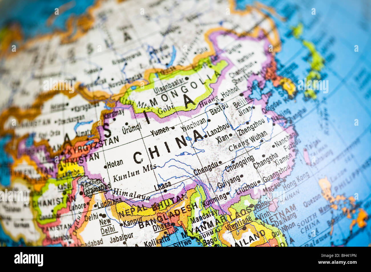 globe view of china and southeast asia stock image