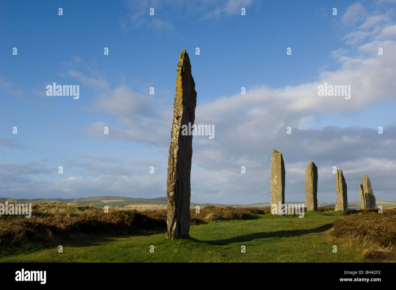 The Ring of Brodgar, a world heritage site, on the mainland of the Orkney Isles, Scotland, 20th October 2008. - Stock Image