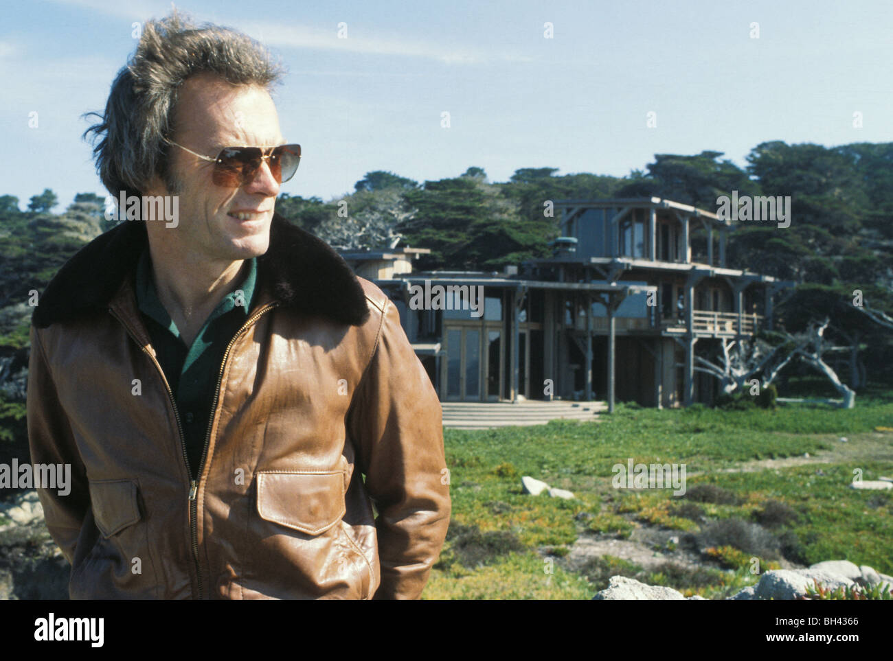 Clint Eastwood in front of his home in Pebble beach in the late 1970s - Stock Image