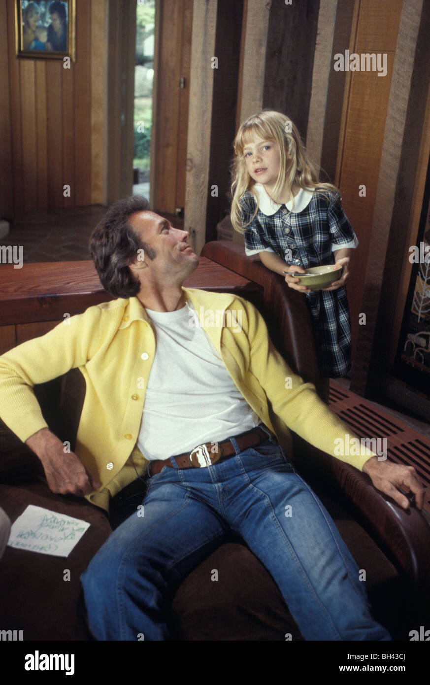 Clint Eastwood and daughter Alison at home in Pebble Beach Carmel California in the late 1970s - Stock Image