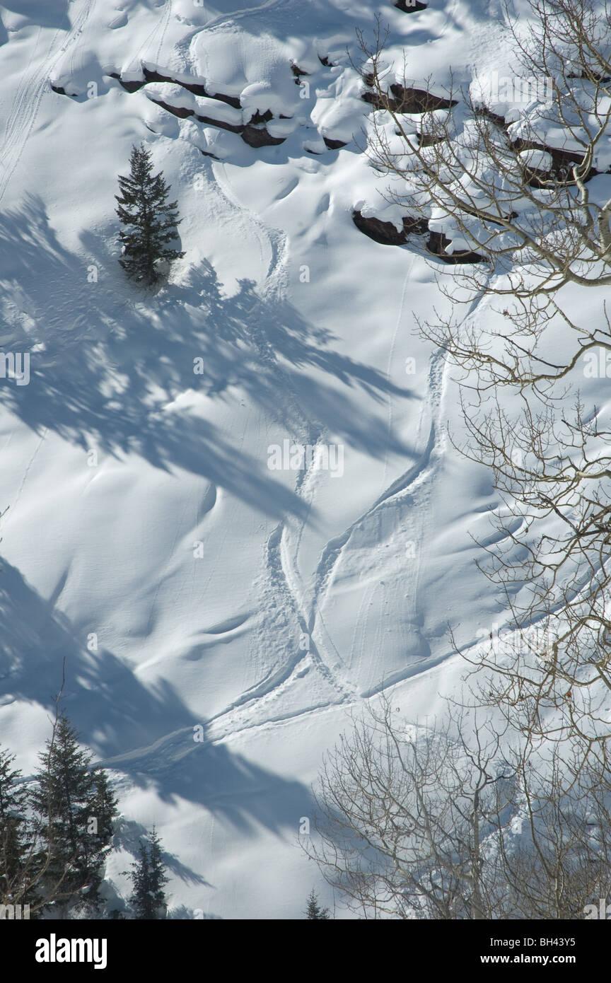 Ski tracks on steep slope, Vail, Colorado, USA - Stock Image