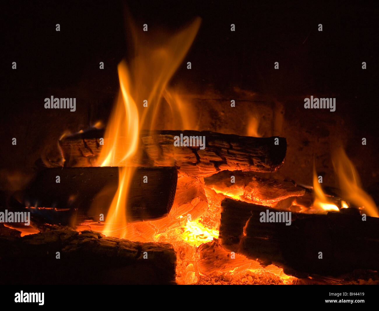 flames fire  fireplace - Stock Image