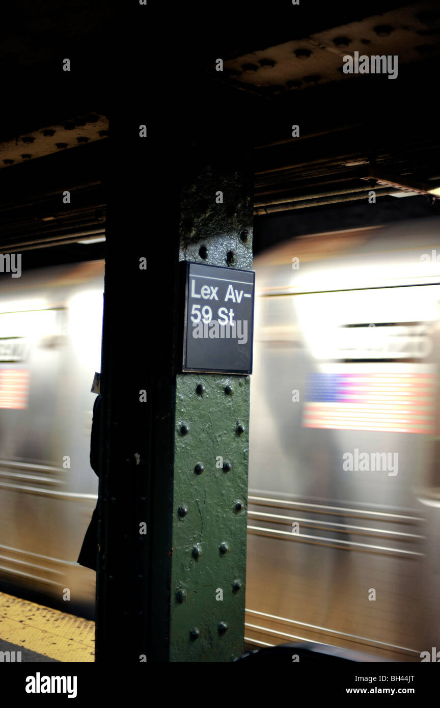 NYC Subway Train Arriving At Lexington Avenue Station