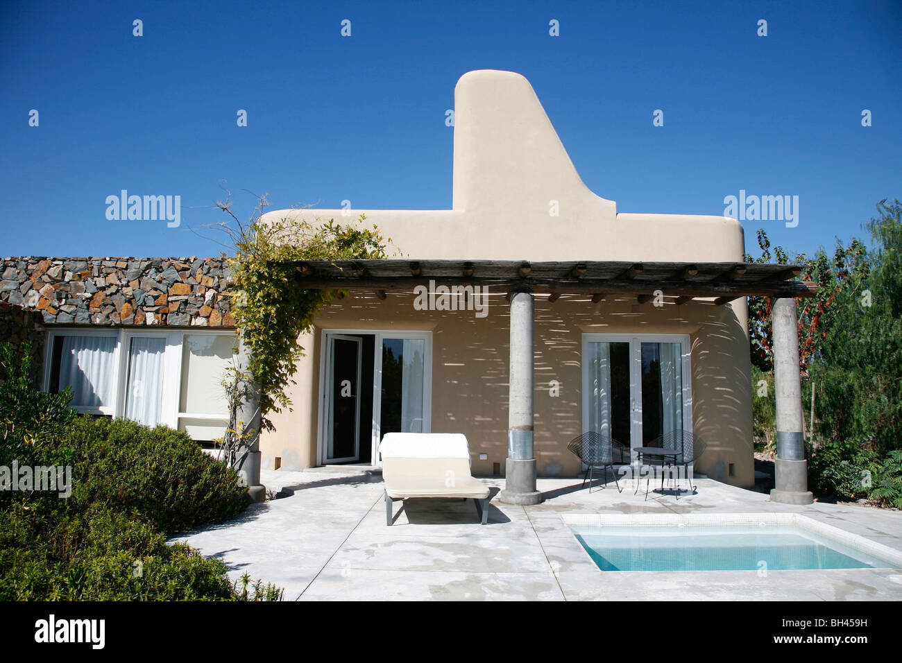 The exterior of a suit in the luxurious Cavas Wine Lodge, Lujan de Cuyo, Mendoza, Argentina. - Stock Image