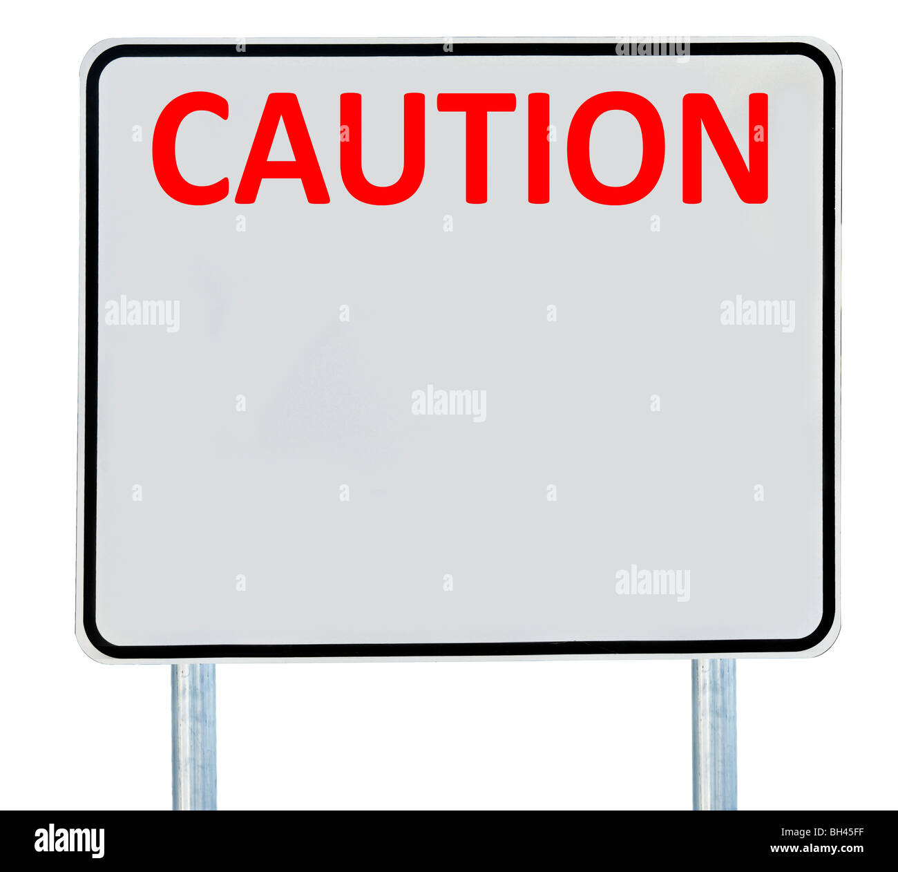 A 'Caution' road sign isolated on white. - Stock Image