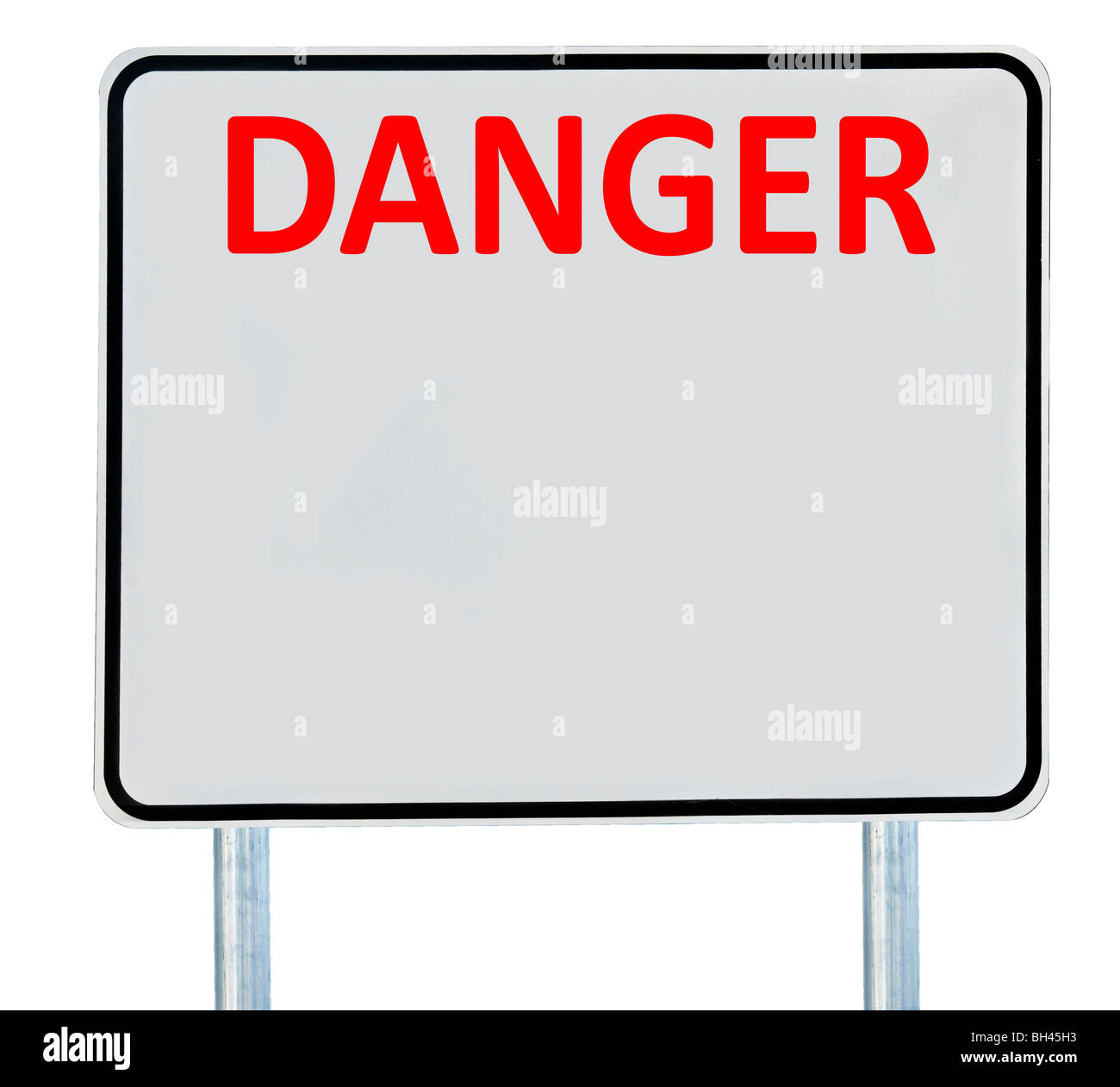 A 'Danger' road sign isolated on white. - Stock Image