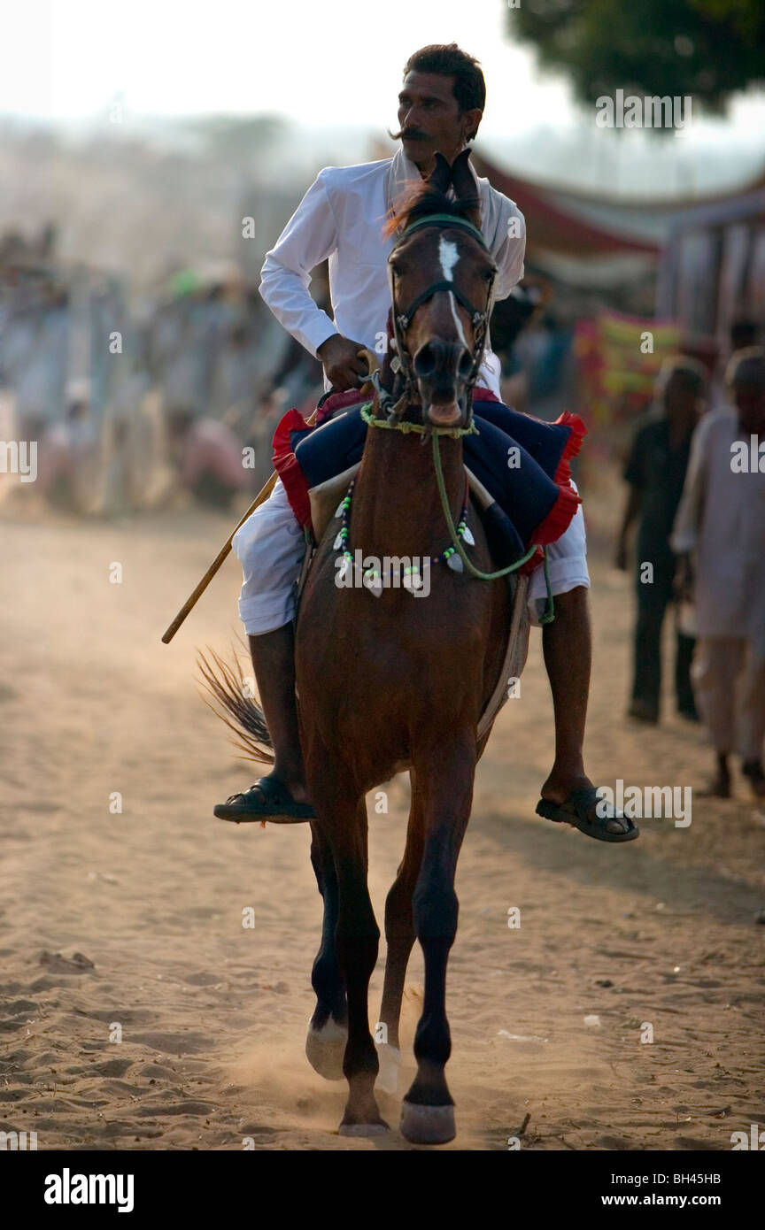 Mustachioed Indian Horse Rider Warming Up Stock Photo Alamy