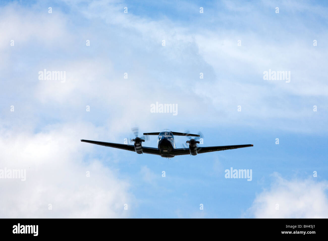 CAA test aircraft making ILS approach at BIrmingham to test landing instrumentation - Stock Image