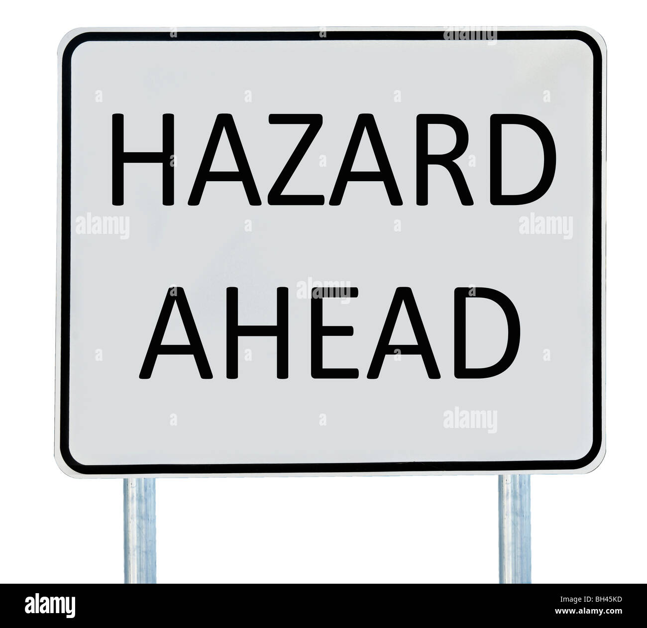 A 'Hazard Ahead' road sign isolated on white. - Stock Image