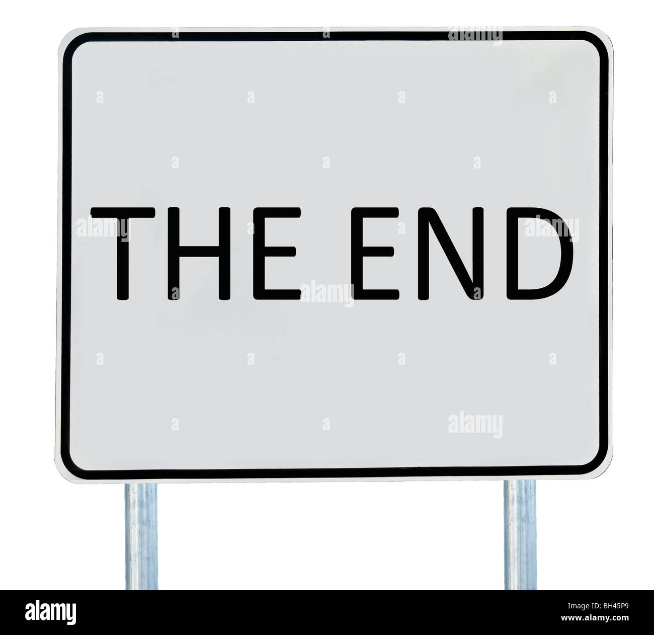 A 'The End' sign isolated on white. - Stock Image
