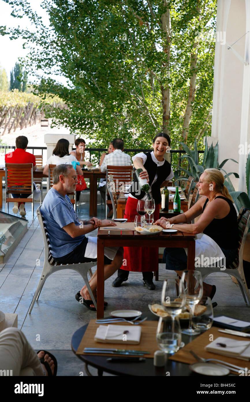 The restaurant at the luxurios Cavas Wine Lodge, Lujan de Cuyo, Mendoza, Argentina. - Stock Image