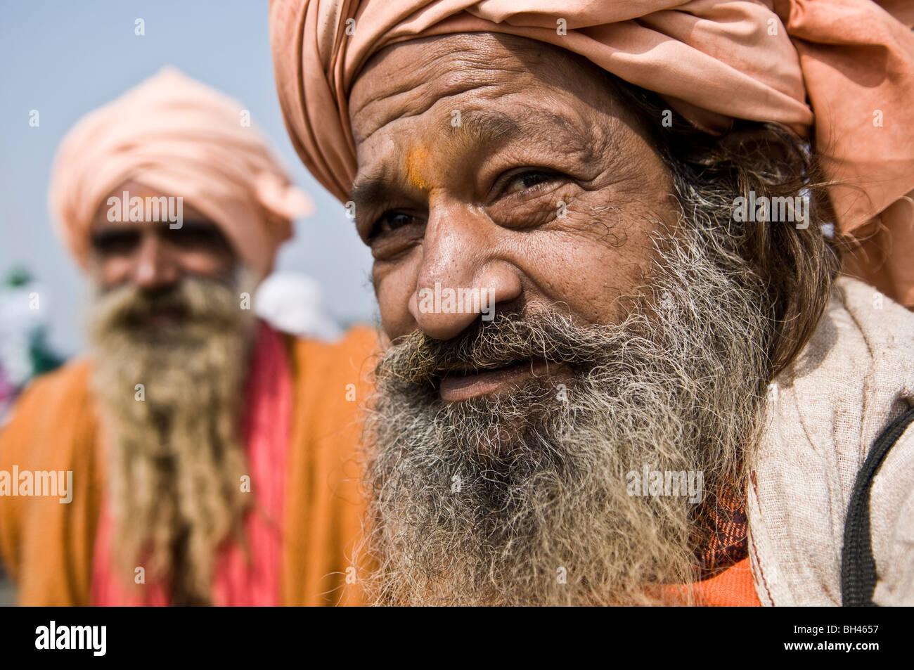 Indian Sadhus at the Gangasagar mela in West Bengal. - Stock Image