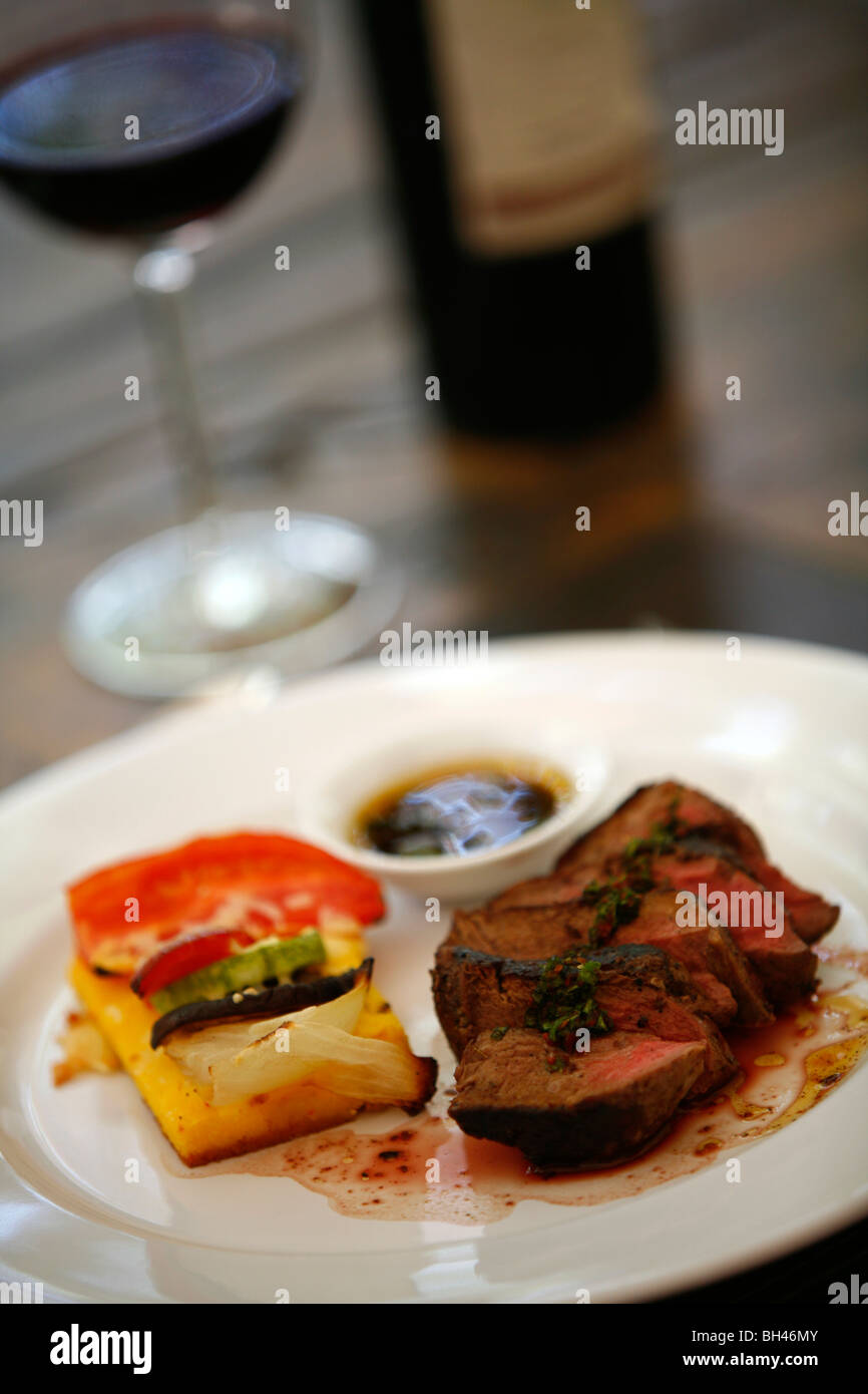 Filet Mignon dish at the upmarket restaurant of Lagarde winery, Lujan de Cuyo, Mendoza, Argentina. - Stock Image