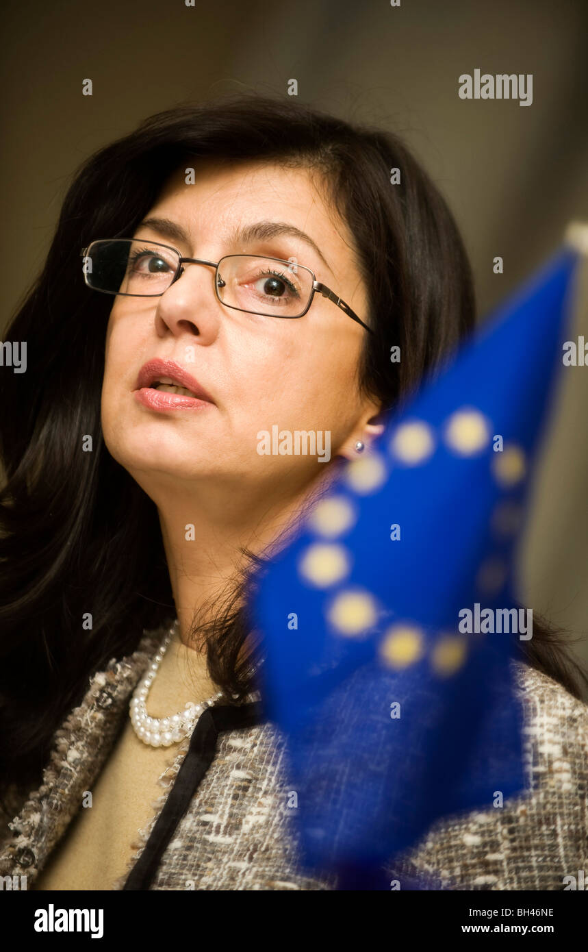 Meglena Kuneva, EU commissioner for consumer affairs, speaks during an interview in Tokyo, Japan on Tuesday 08 Dec. - Stock Image