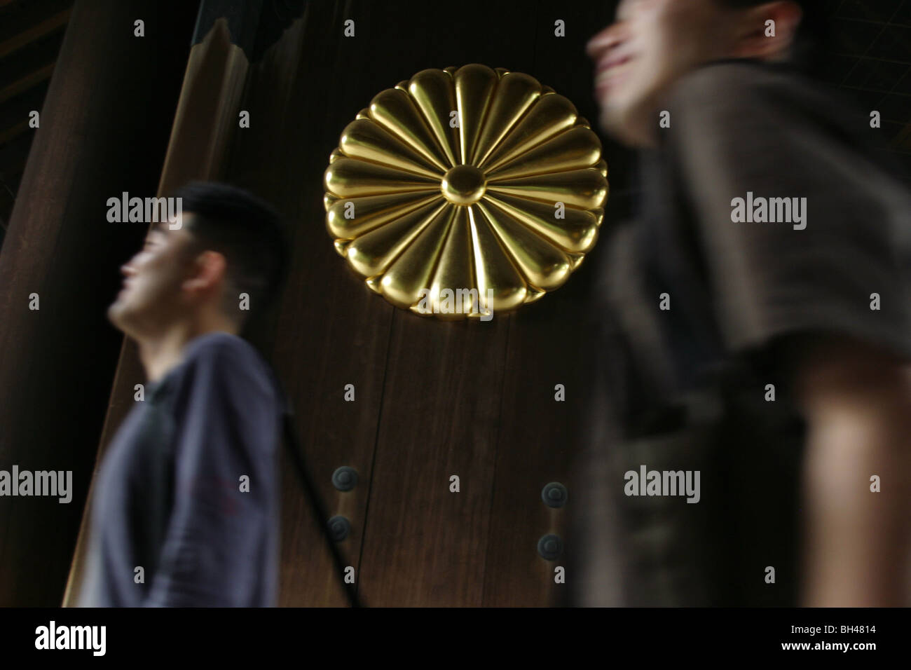 Visitors at Yasukuni Jinja (shrine), Japan's shrine to the dead of World War 2 , Kudanshita district of Tokyo, - Stock Image