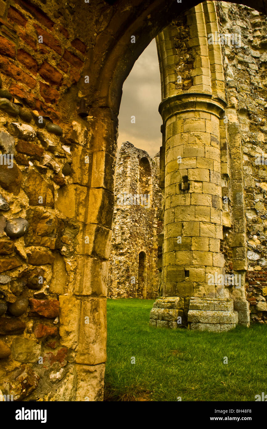 Ruined walls of Leiston Abbey in Suffolk circa 12th century. - Stock Image