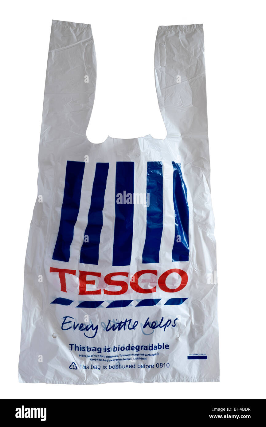 Tesco red white and blue plastic shopping bag Stock Photo