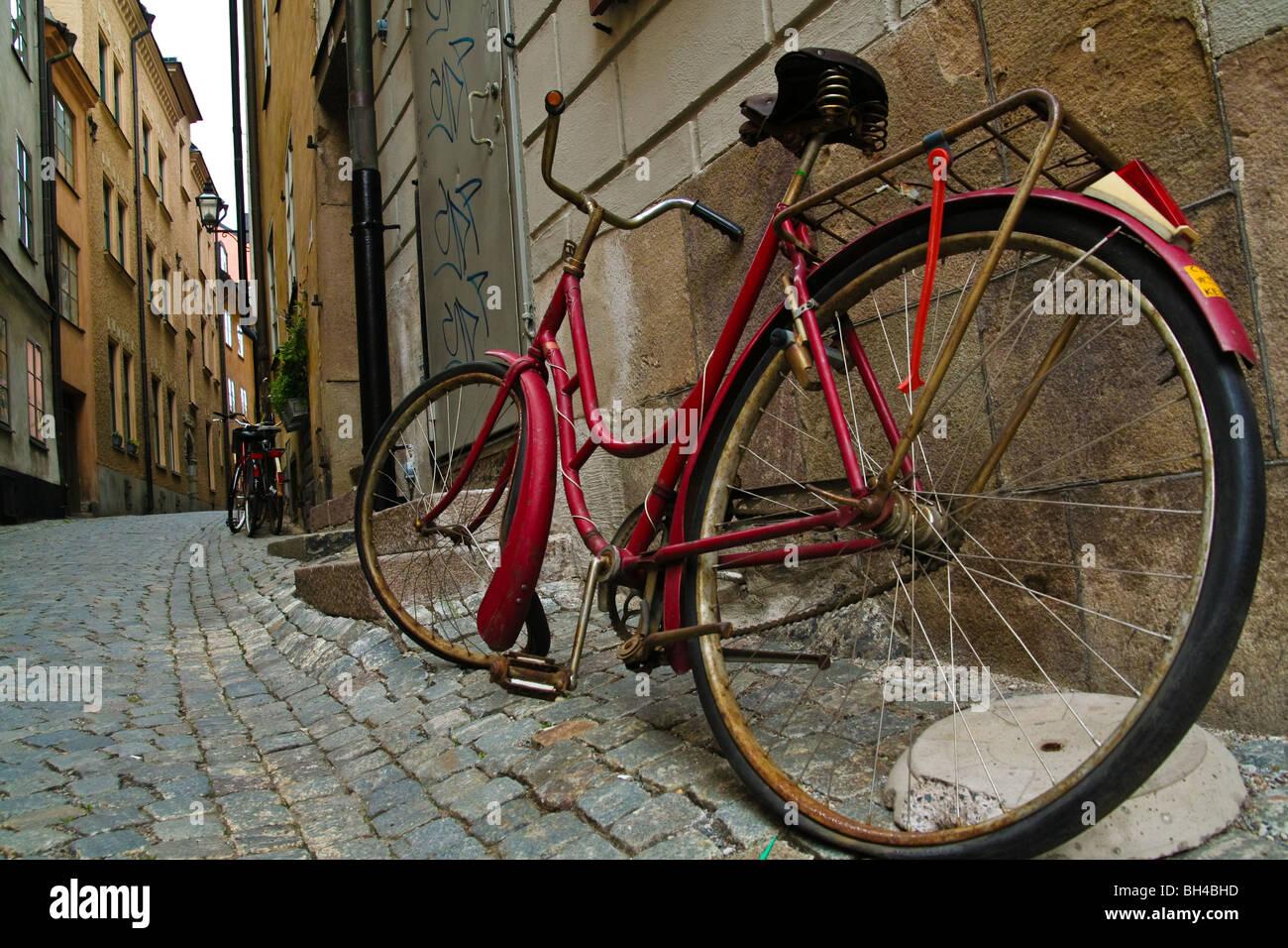 Bike Reds Stockholm Streets Sweden Transport - Stock Image