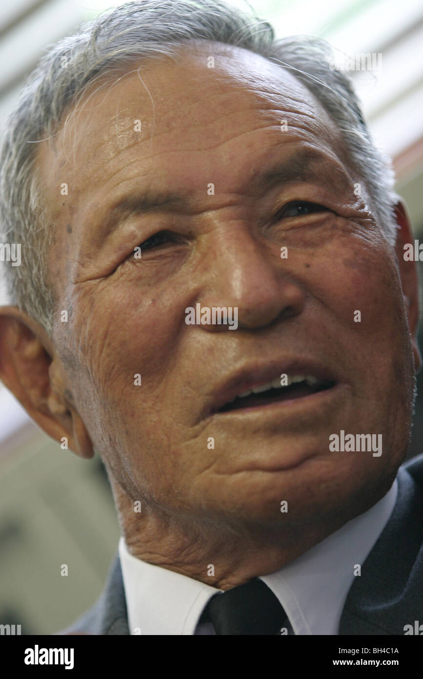 """Shigeyoshi Hamazono, 81 years old, """"kamikaze"""" pilot in the Japanese Special Attack Force during WW2, in Chiran, Stock Photo"""