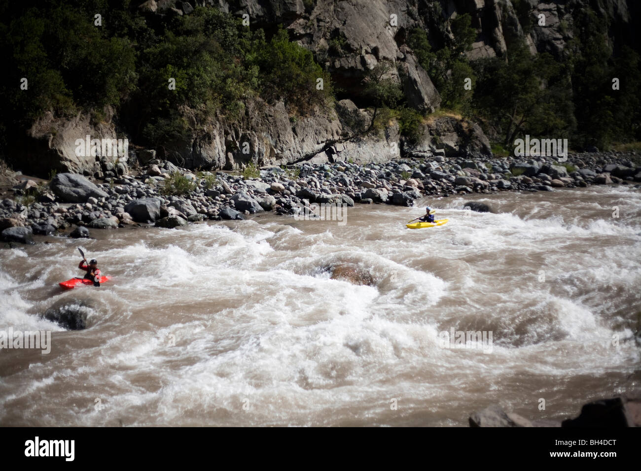 Two kayakers paddle through whitewater on a river. - Stock Image