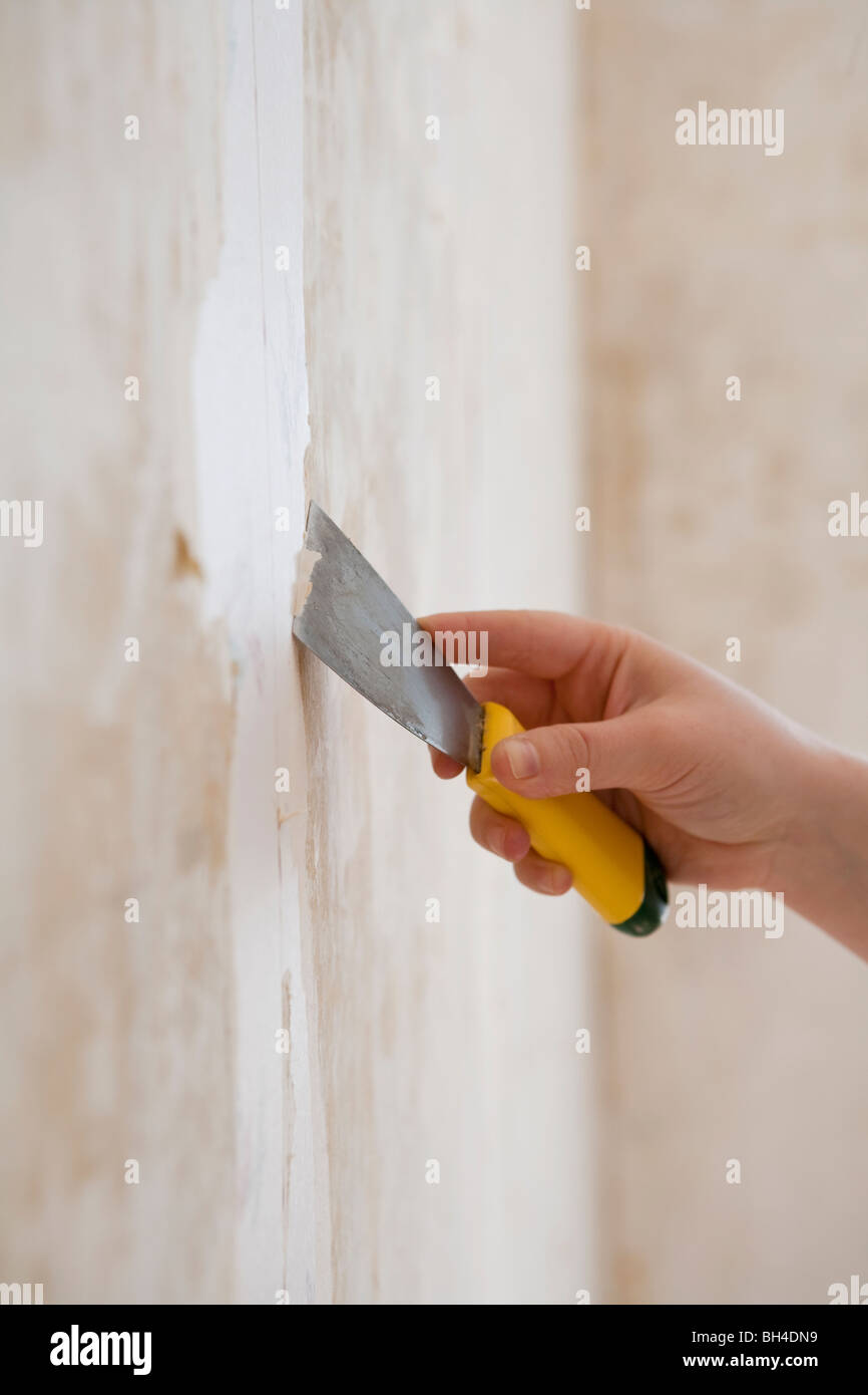Close Up Of A Scrapper Taking Off Old Wallpaper