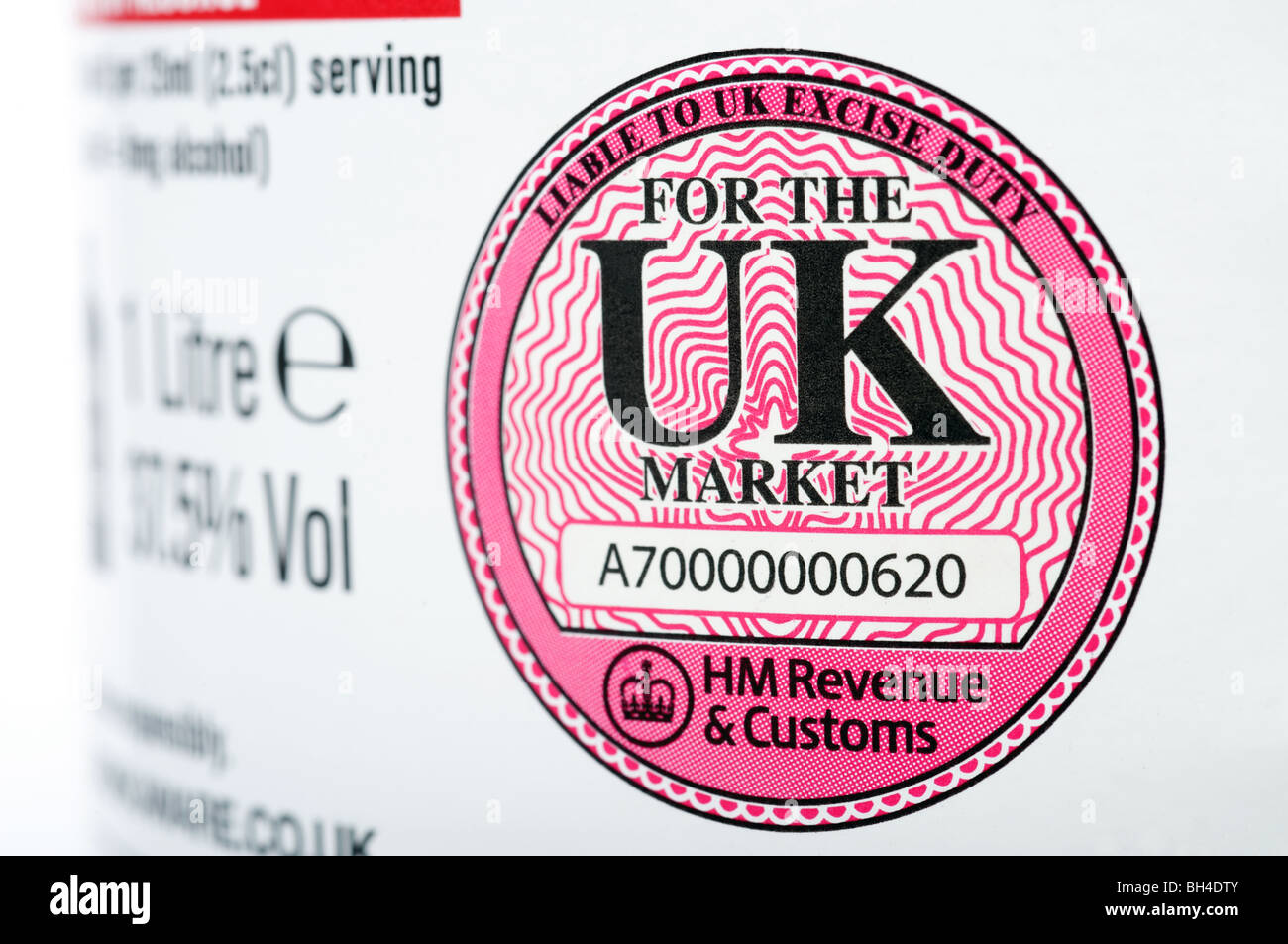 HM Revenue & Customs liable to UK excise duty label printed on a bottle of Vodka Stock Photo